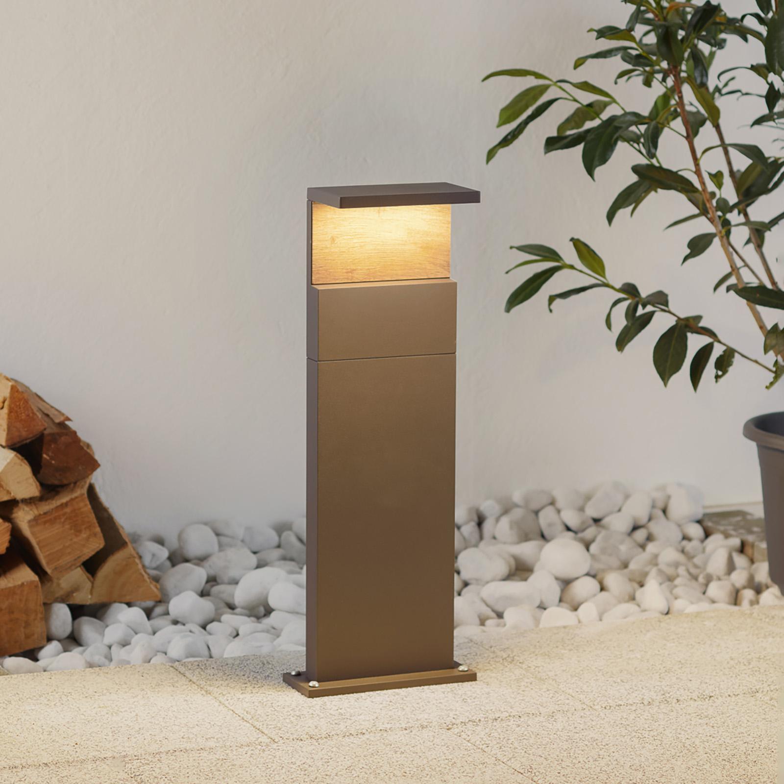 Słupek oświetleniowy LED Ruka, drewno, 60 cm