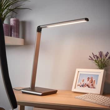 Kuno metallisk grå LED-bordlampe med dimmer og USB