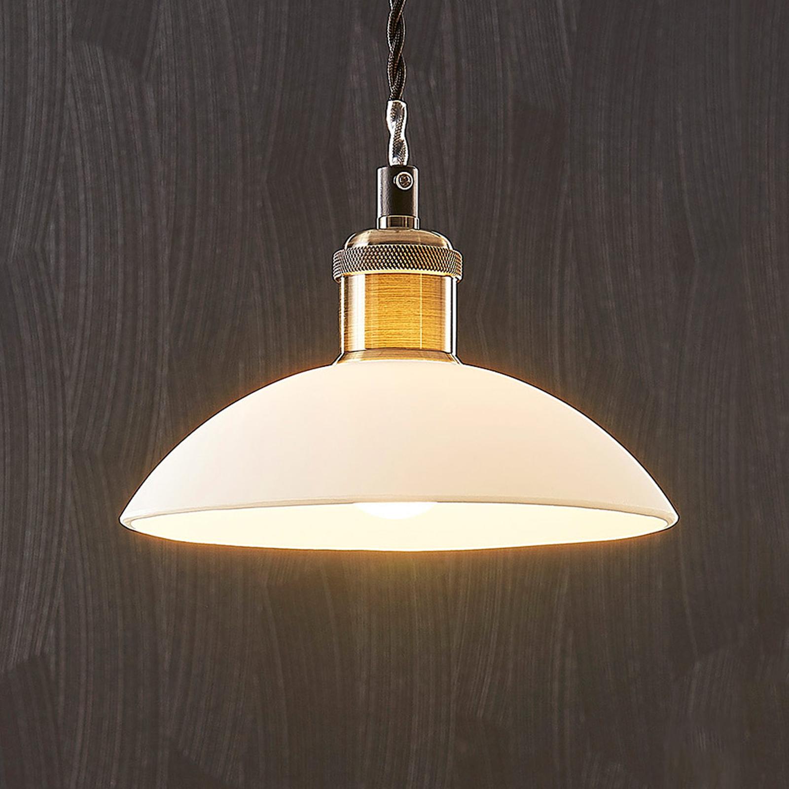 Glazen hanglamp Samu, antiek messingkleurig