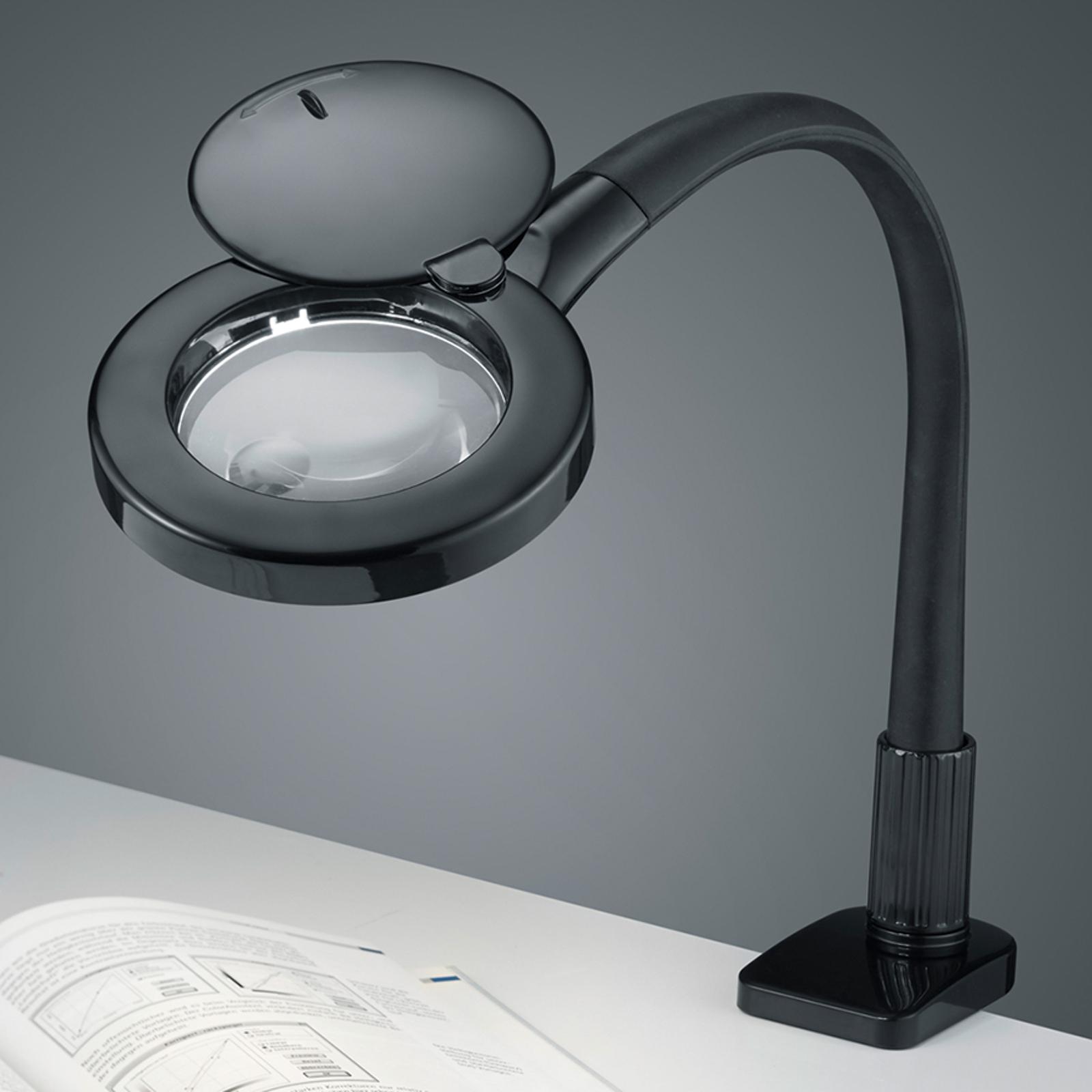 Lupen-LED-Klemmlampe Lupo in Schwarz