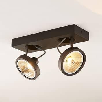 Arcchio Jorvin plafondspot, 2-lamps zwart