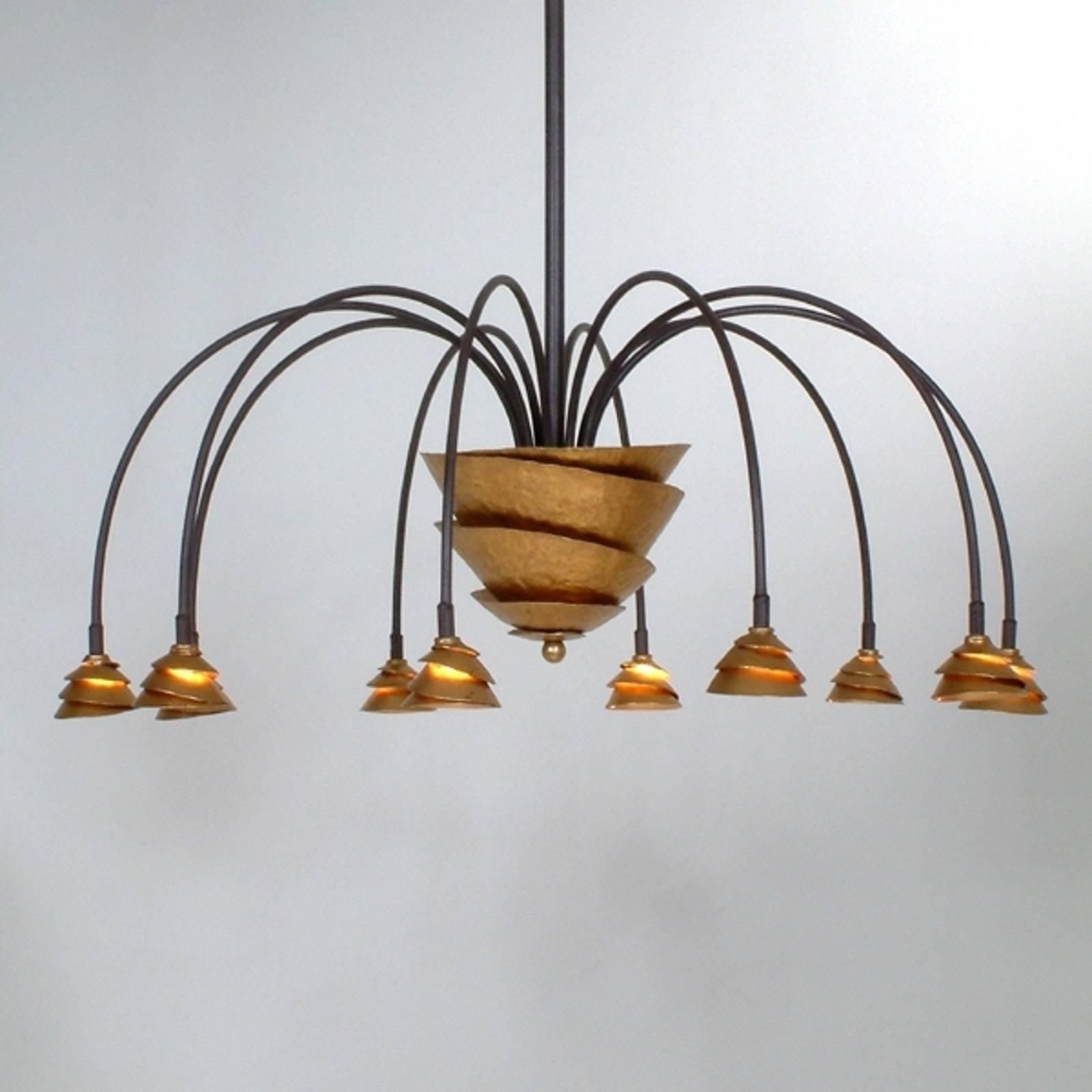 Lampa wisząca LED Fontaine żelazo-brązowy-złoty