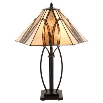 Lampe à poser 5913 avec abat-jour en verre brun