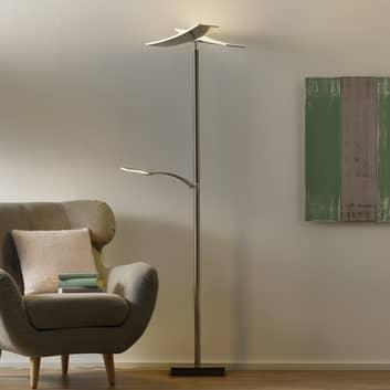 B-Leuchten Duo LED-Stehleuchte mit Dimmer, nickel