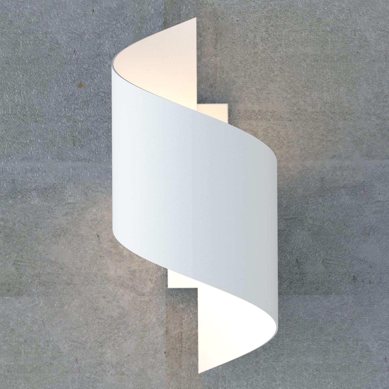 Wandlampe Spiner in Spiralform aus Stahl, weiß