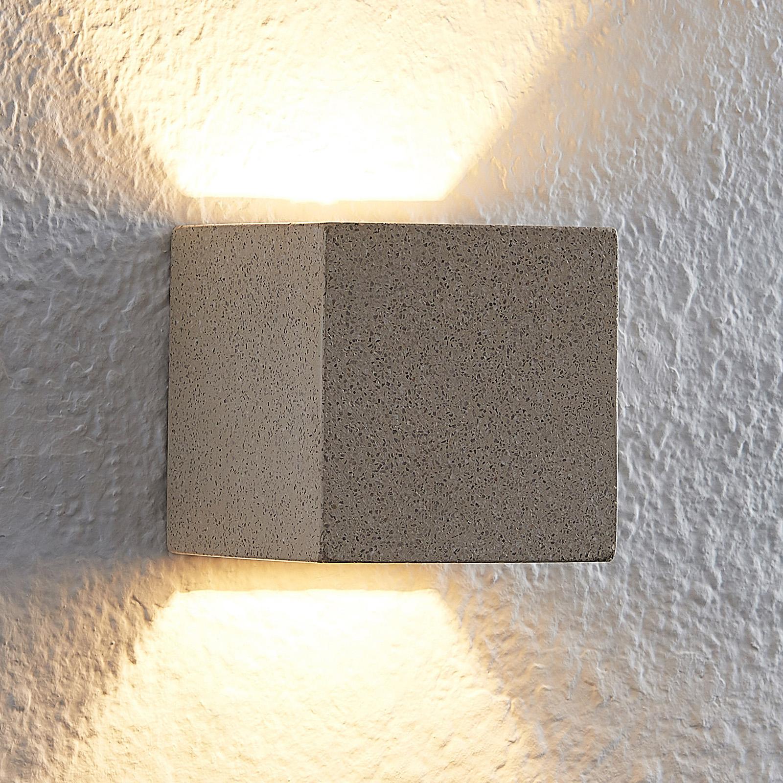 Lindby Quaso LED-vegglampe, betong beige-granitt