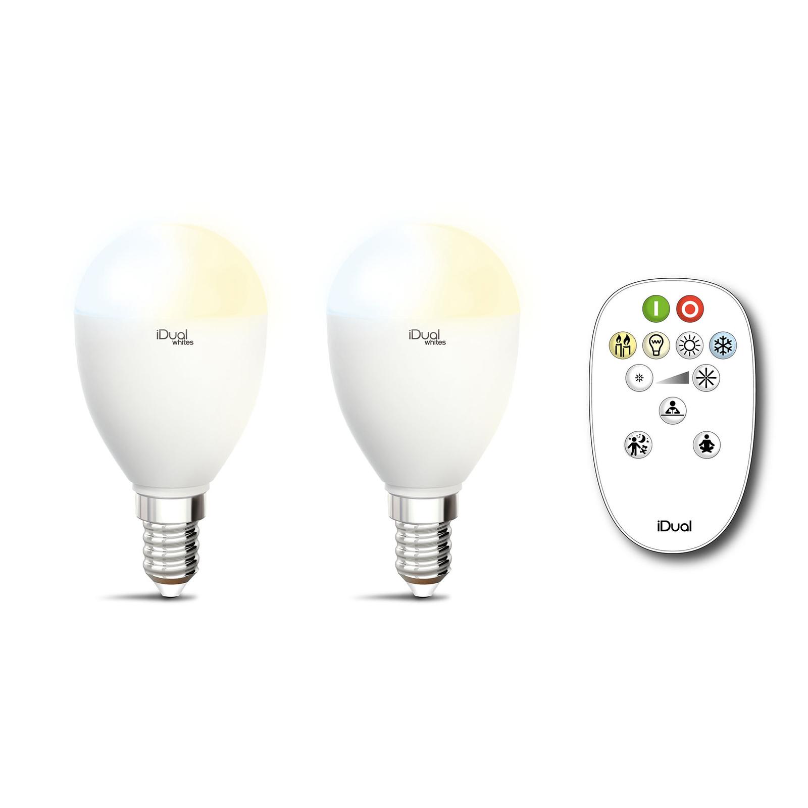 iDual Whites LED-pære E14 5,5W 2er, fjernkontroll