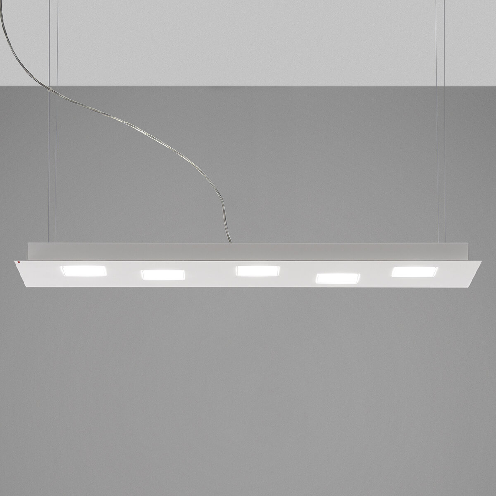 Fabbian Quarter - weiße LED-Hängeleuchte 5flg.