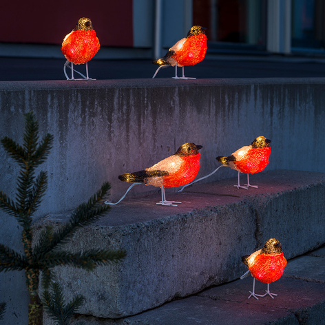 Rödhake LED-ljusfigurer i akryl, 5-pack