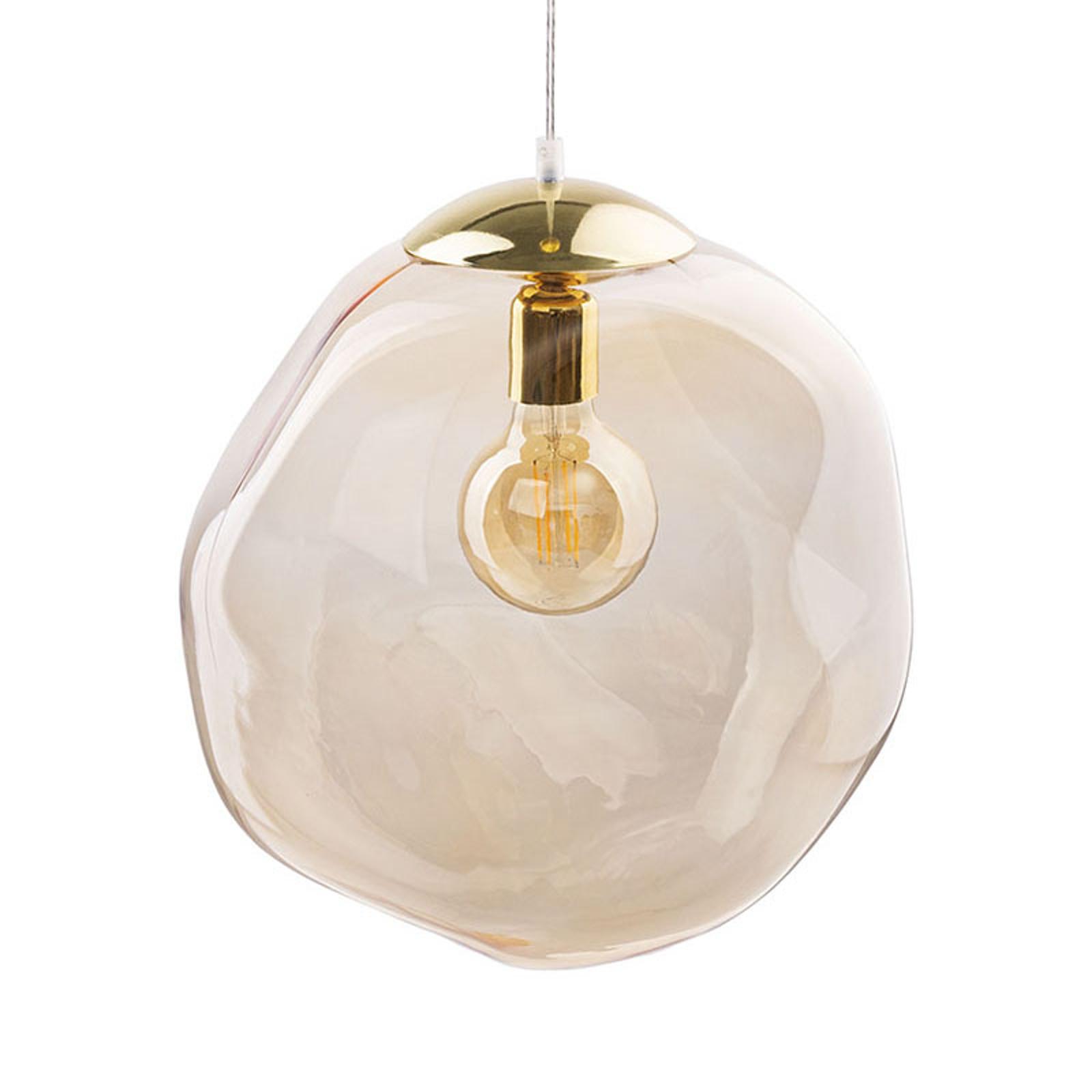Sol hængelampe af glas, guld, rav