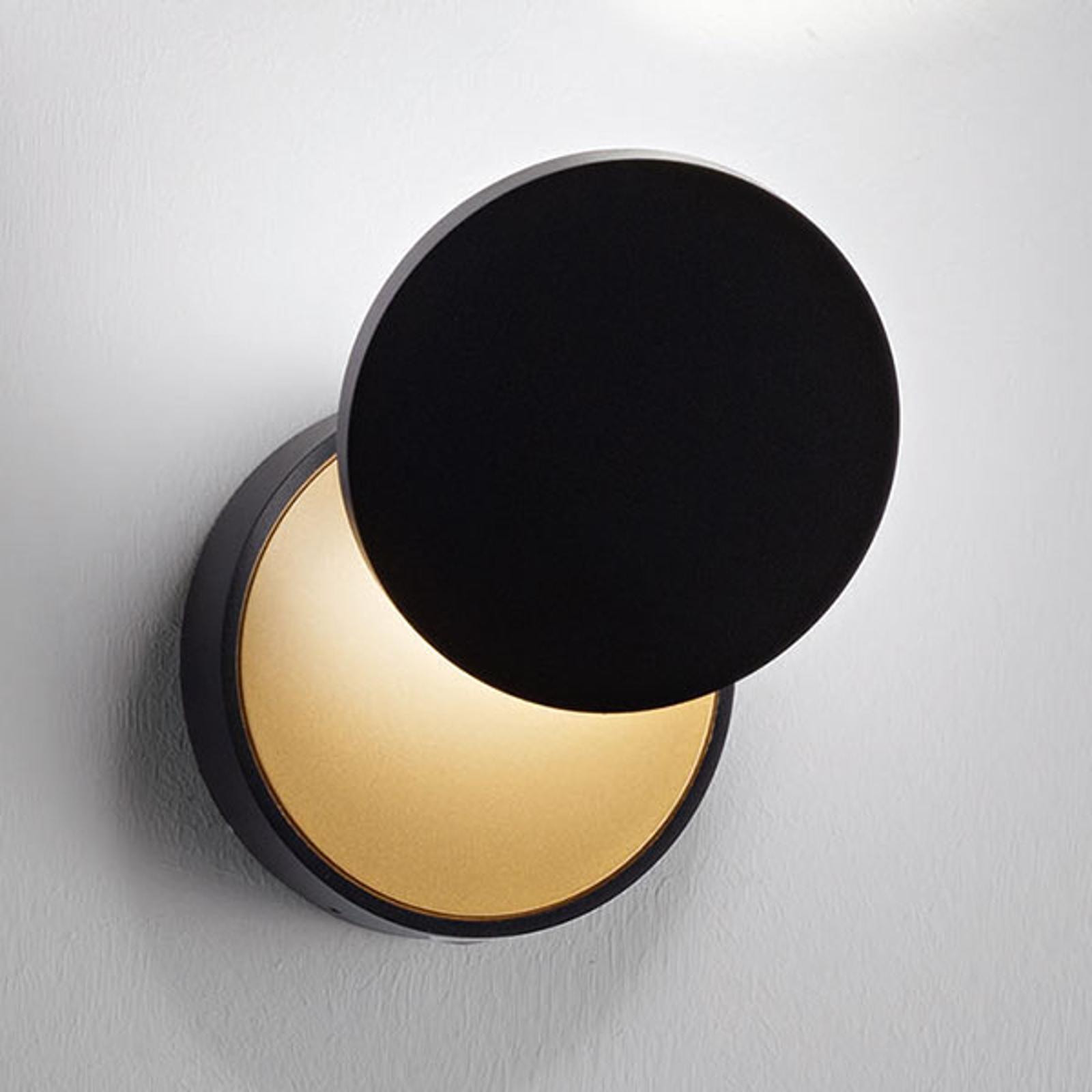 LED wandlamp Ara met leesspot, zwart-goud