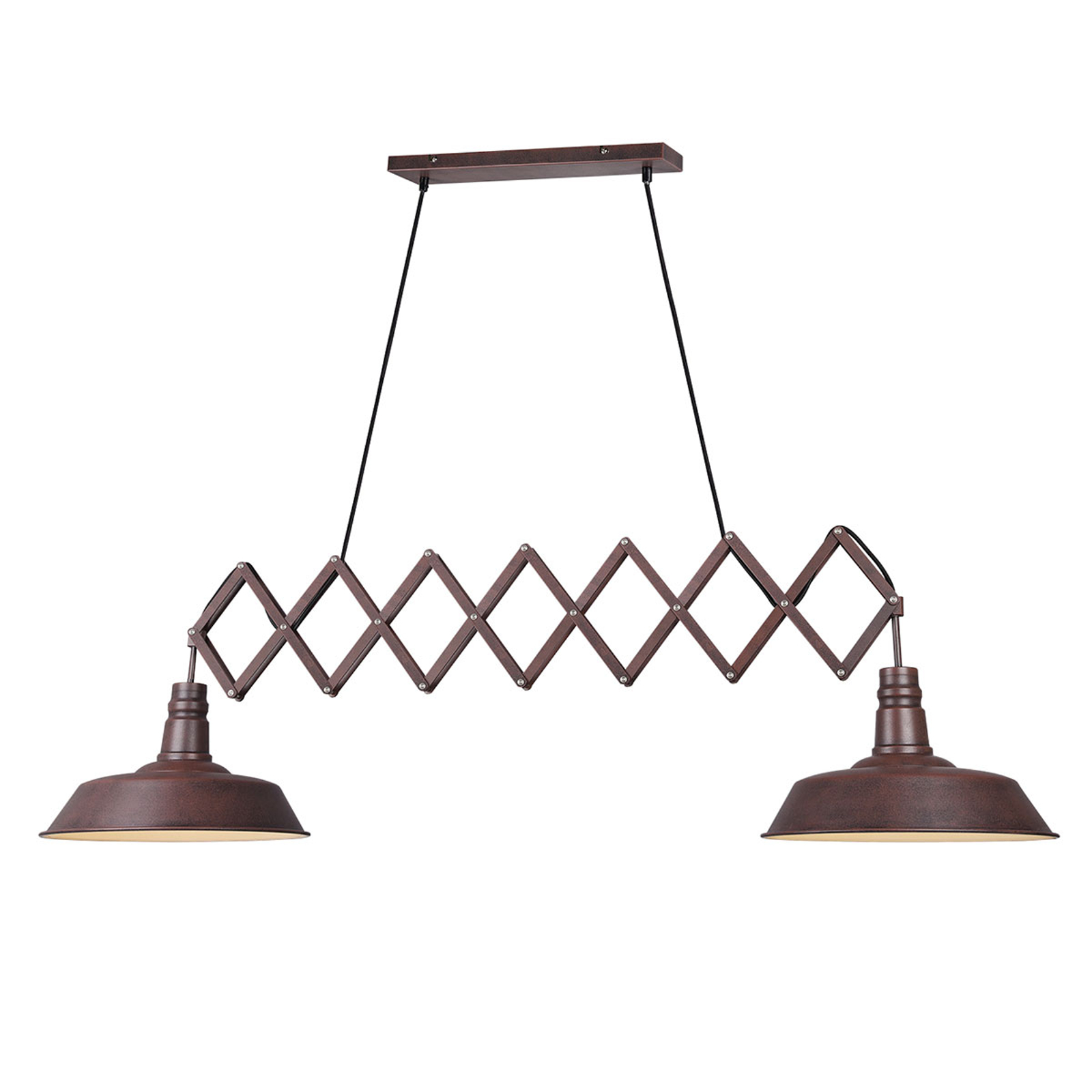 Hanglamp Detroit met twee lampjes in roestoptiek