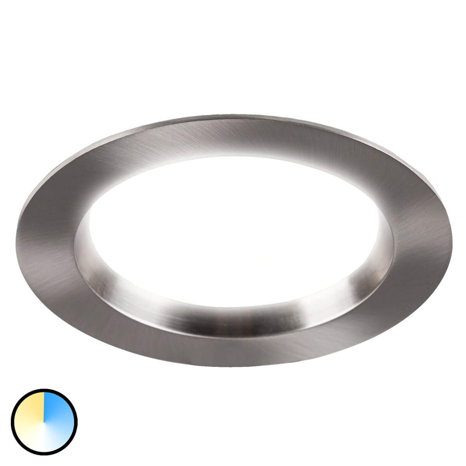 Tyrien - rund, förnicklad inbyggd LED-spotlight