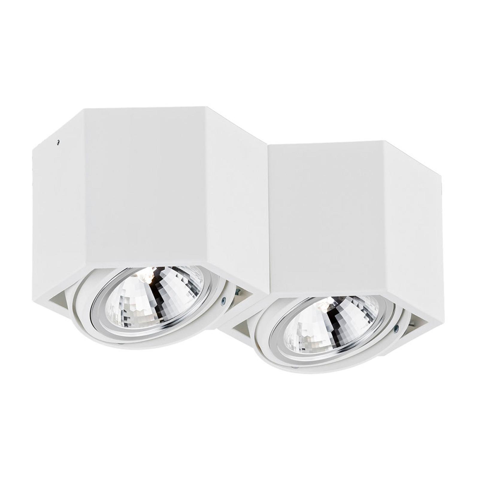 Takspot Elvas, dreibar 2 lyskilder, hvit