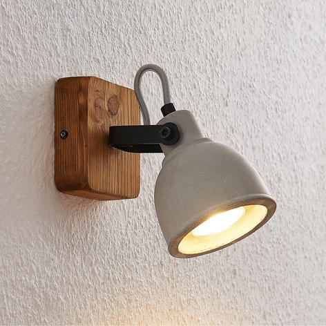 Lindby Mirka LED-Spot aus Holz und Beton