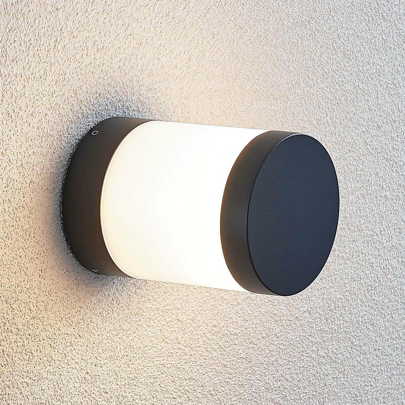 Aplique exterior LED Nitalia, redondo, gris oscuro