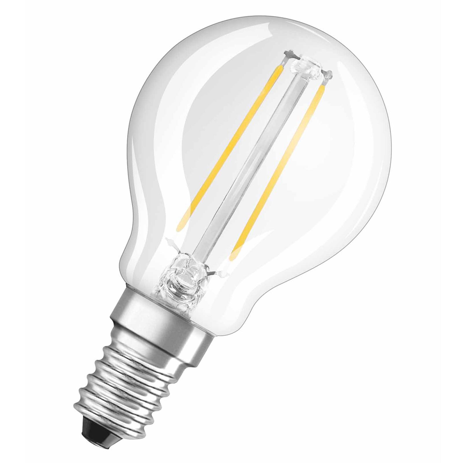 OSRAM LED goccia E14 1,5W 827 trasparente