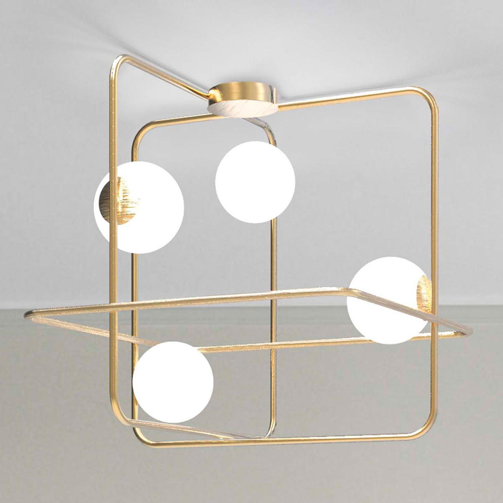 Intrigo taklampe kvadratisk satinert gull
