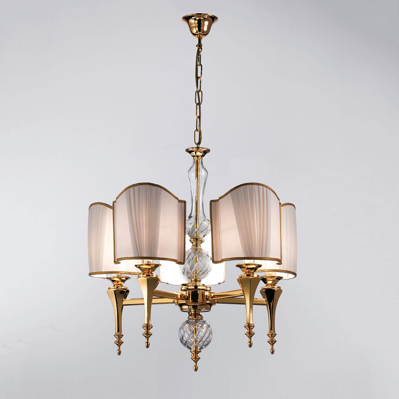 Suspension luxueuse Belle Époque à 5 lampes