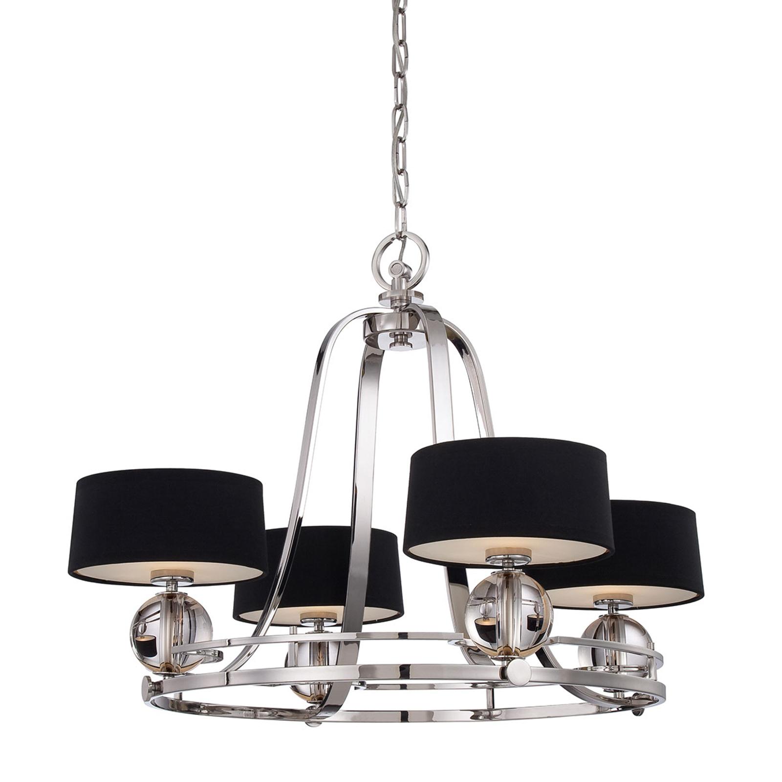 Lámpara de araña Gotham 4 luces pantallas textiles