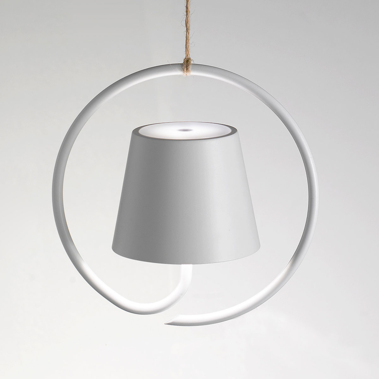 LED hanglamp Poldina op batterijen, wit