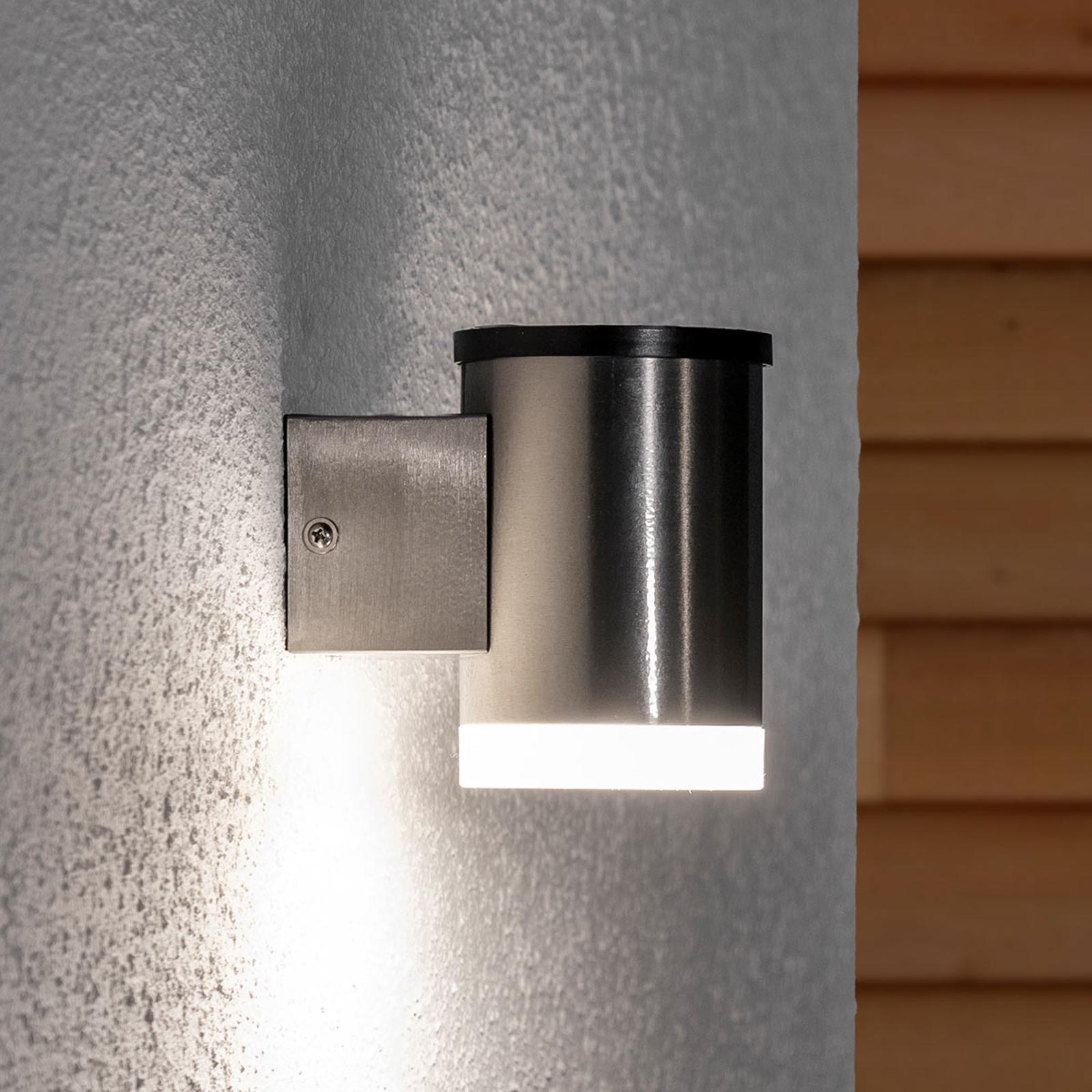 LED-solcelle-vegglampe Tyson, rund, satinert