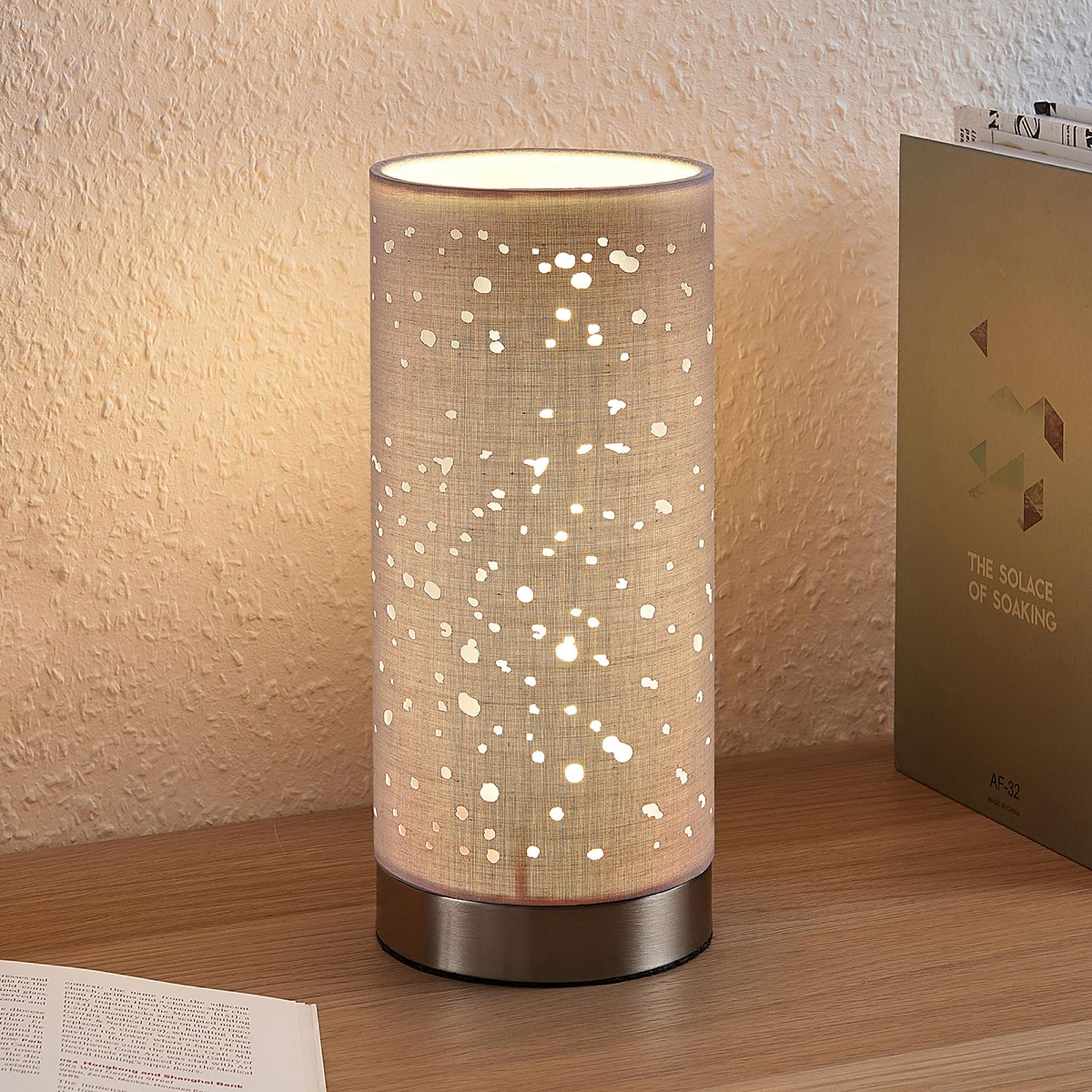 Bordlampe Umma med små utsparringer, grå