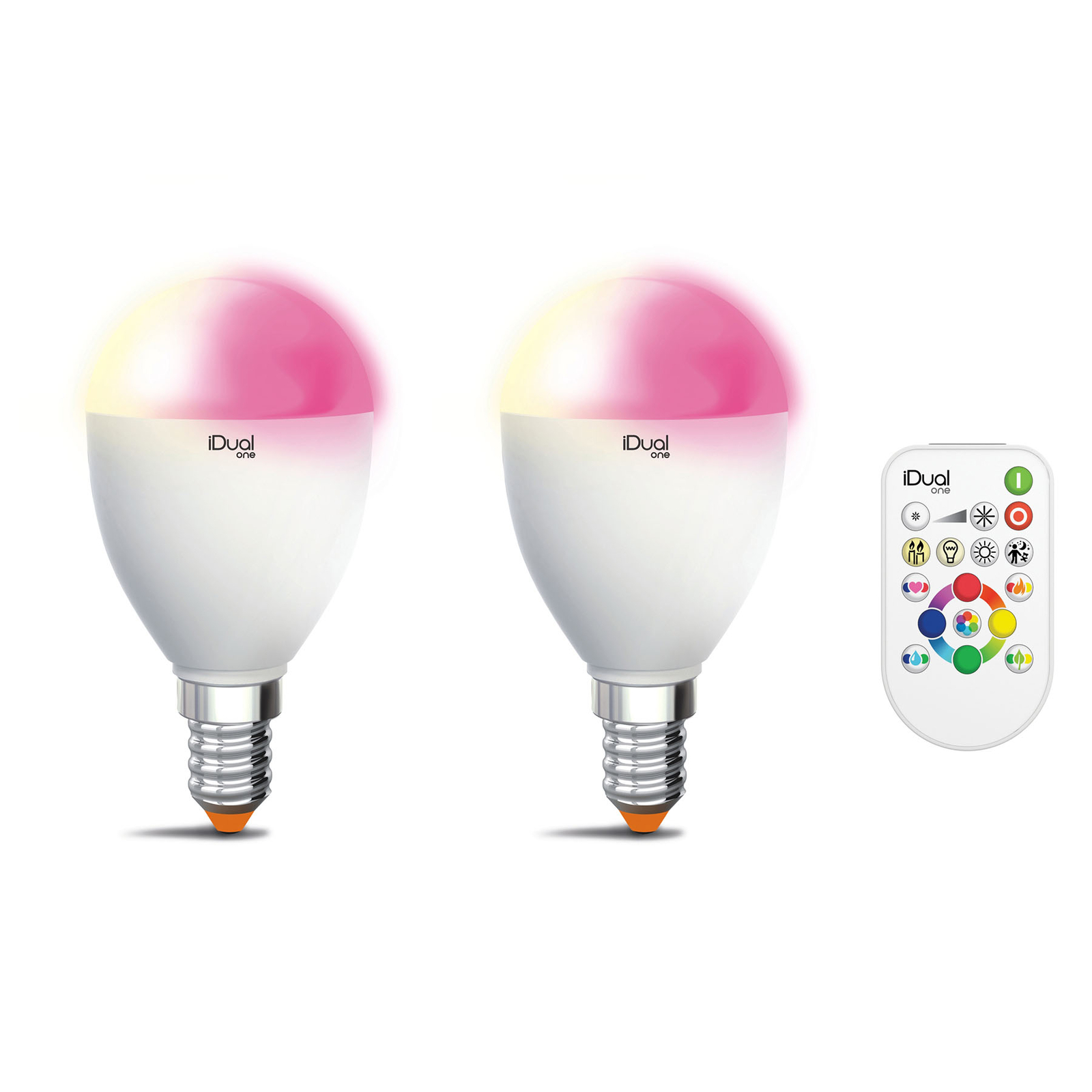 iDual One E14 5,3W RGBW 2er pakke, fjernkontroll