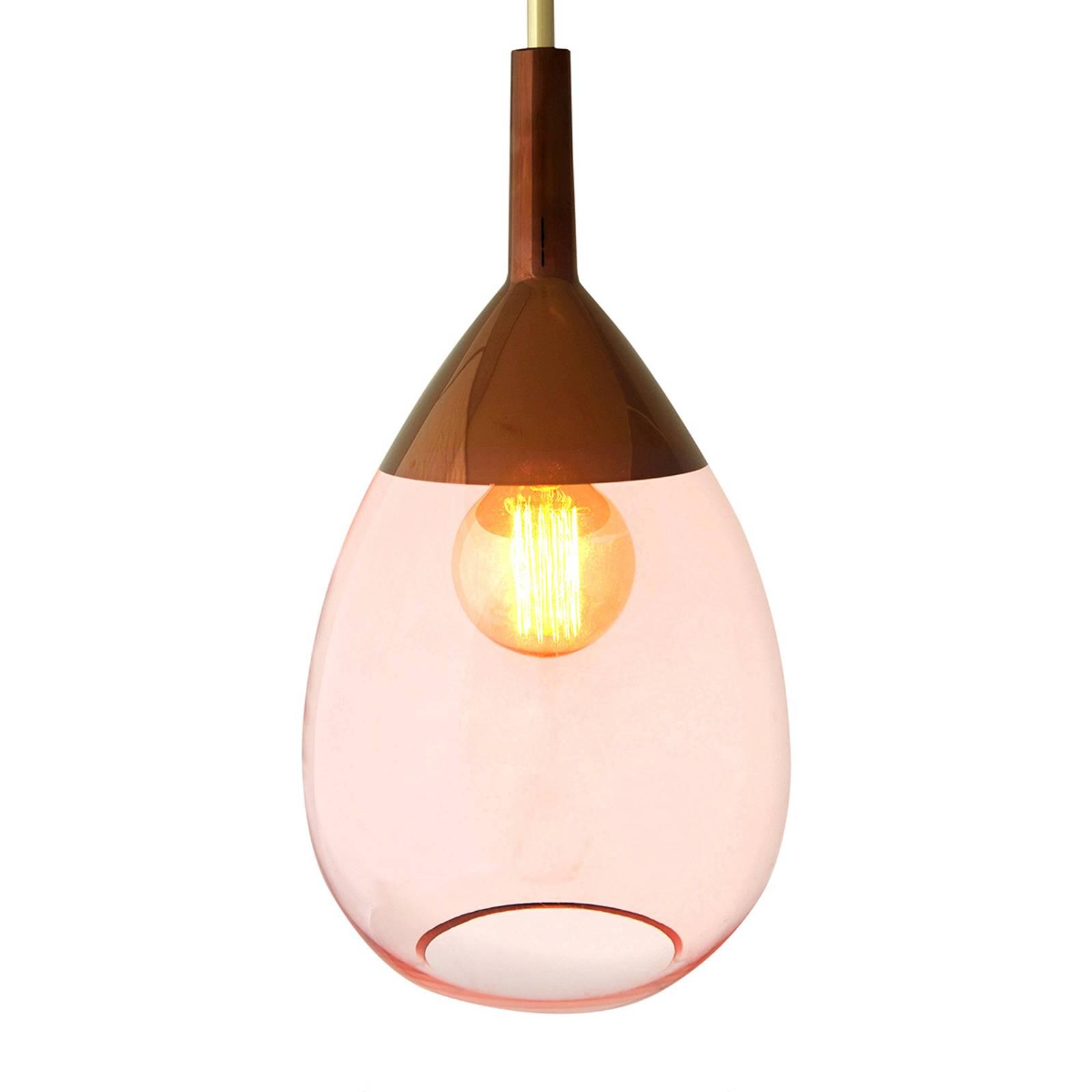 EBB & FLOW Lute glazen hanglamp rosé met koper