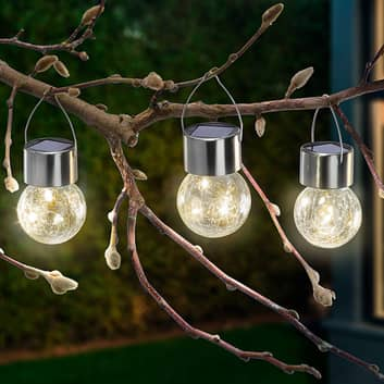 Lampy solarne LED Crackle Ball 3 szt., 3000K