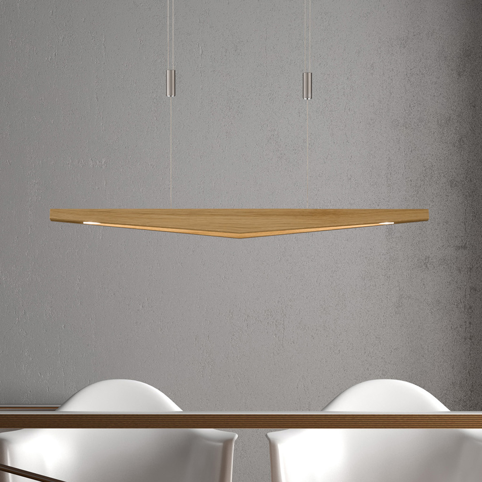 Lucande Dila suspension LED, chêne naturel 88 cm