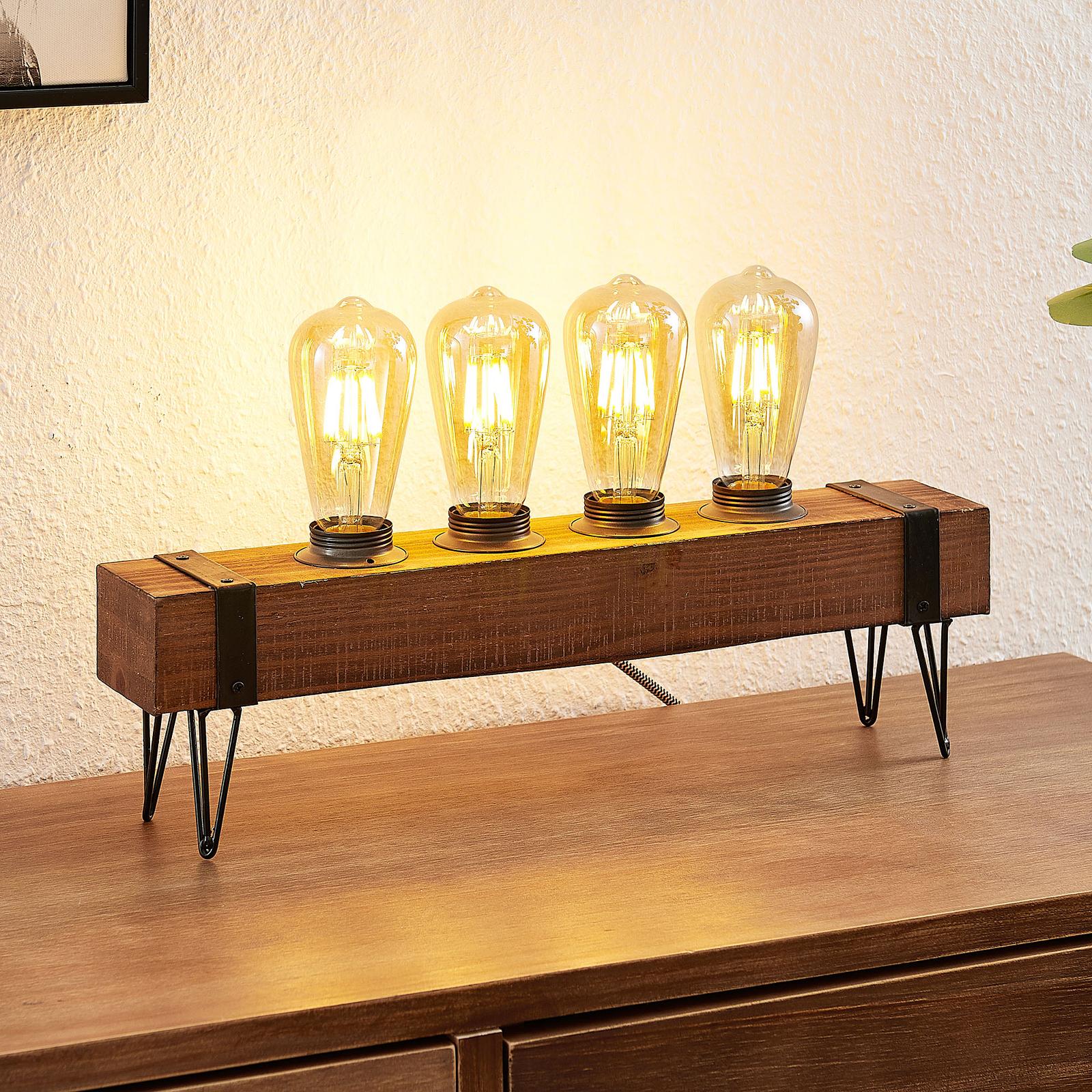 Lindby Sverina bordlampe af træ, 4 lyskilder