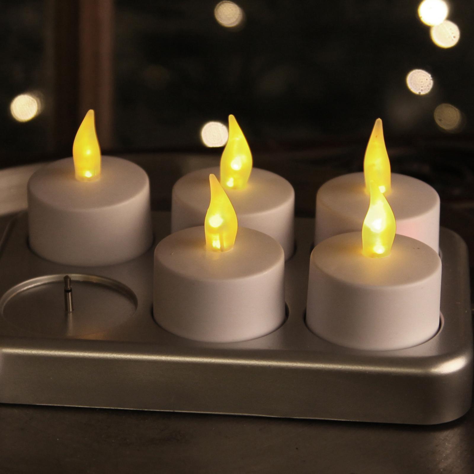 Wiederaufladbares Teelicht T-Light LED 6er-Set