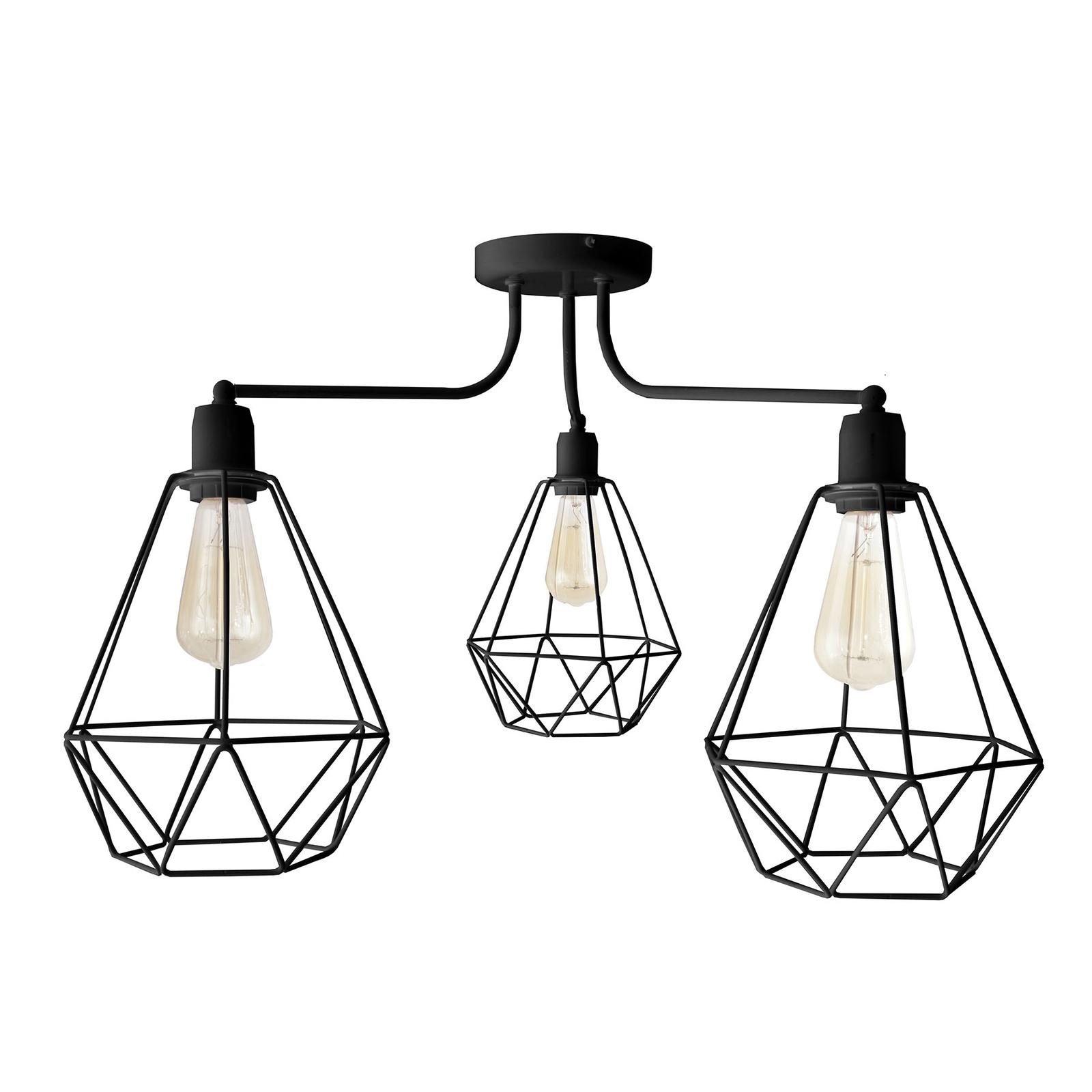 Plafonnier Karo à 3 lampes noir