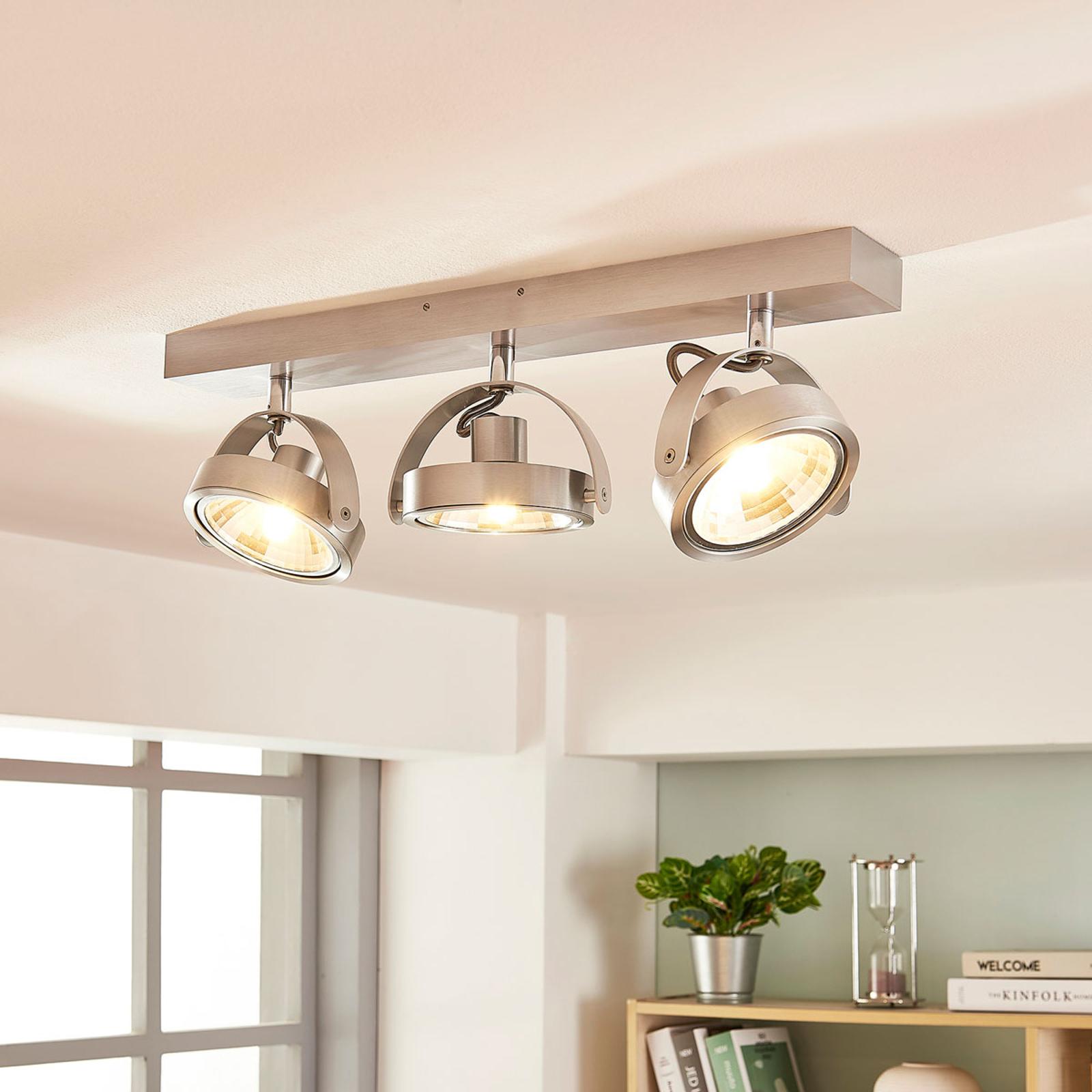 Plafonnier avec spots LED Lieven en alu, 3 lampes