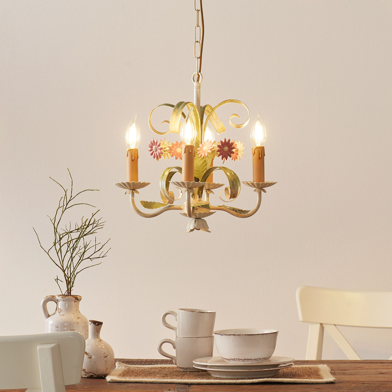 4-lamps kroonluchter Toscana, florentijns