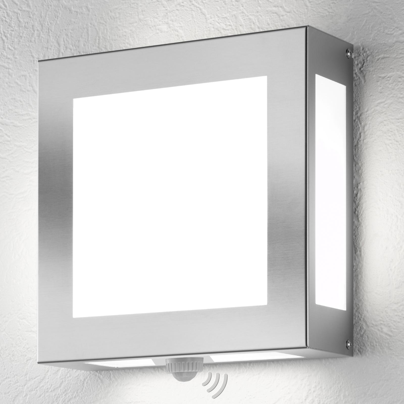 Vonkajšia nástenná lampa Legendo, nerez a snímač