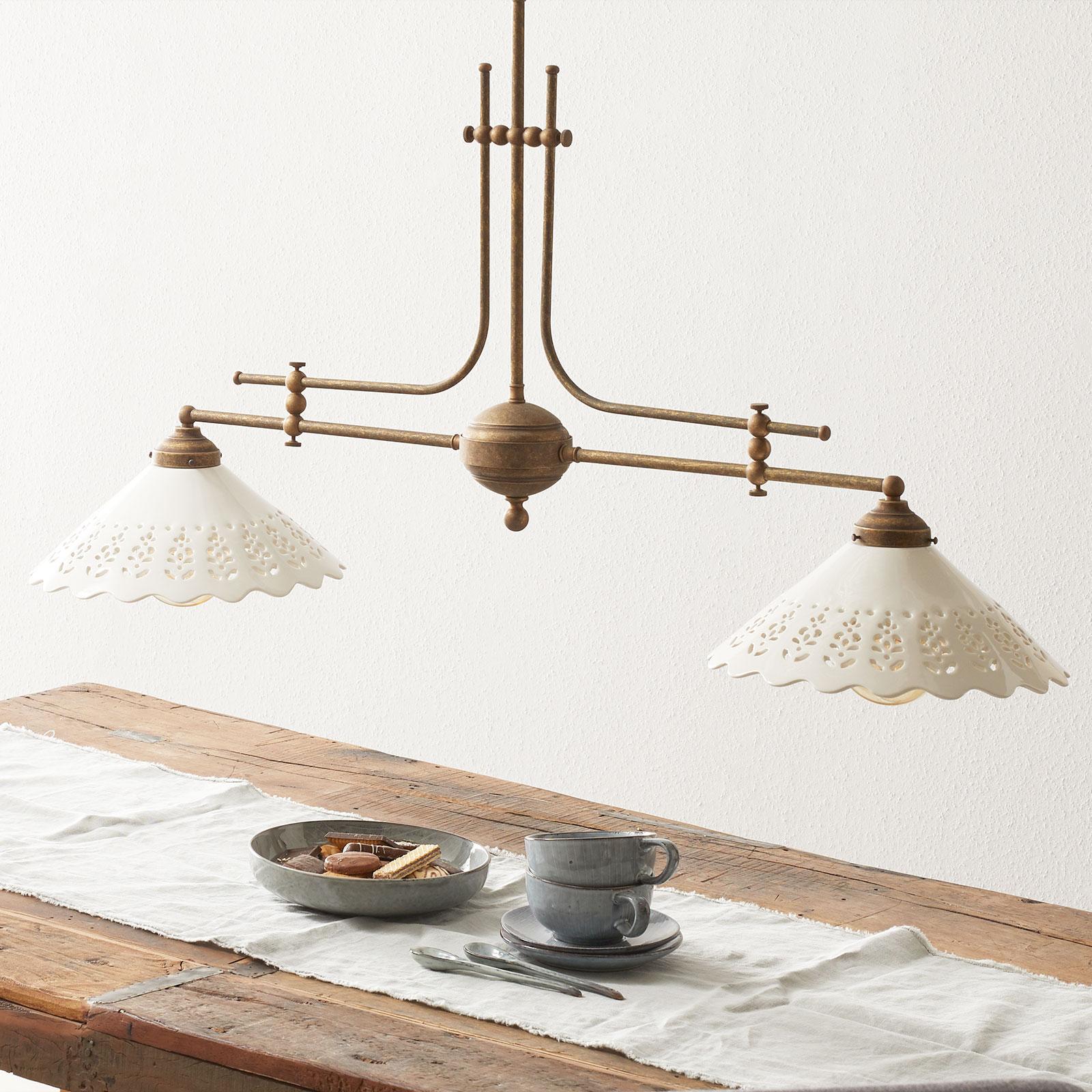 Lampa wisząca Pizzo z łańcuchem, 2-punktowa