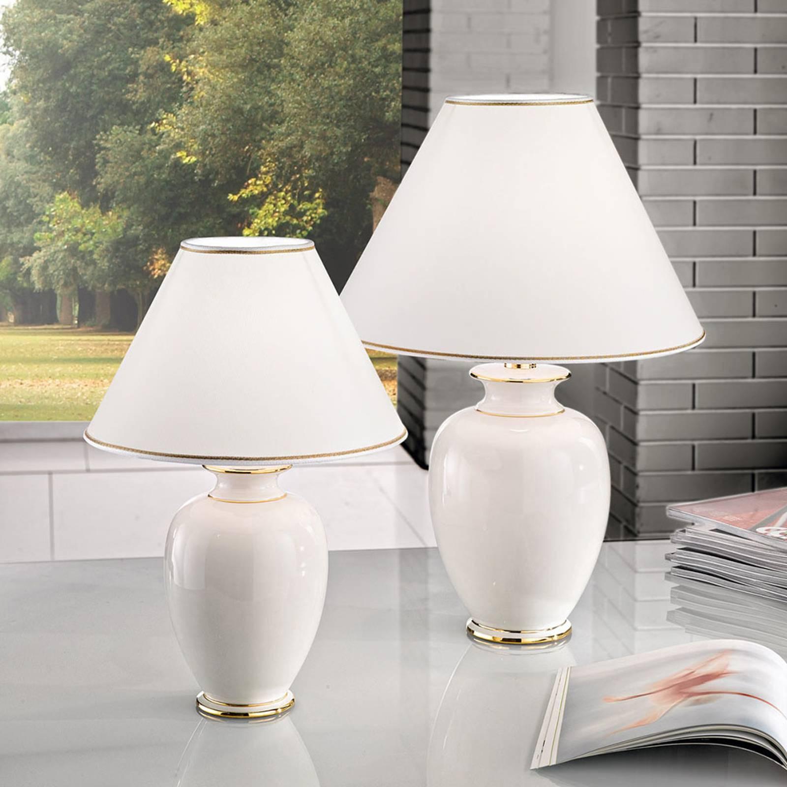 Tafellamp Giardino Avorio in wit-goud, Ø 40 cm