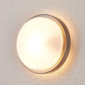Lámpara pared exterior redonda Fero, acero inox