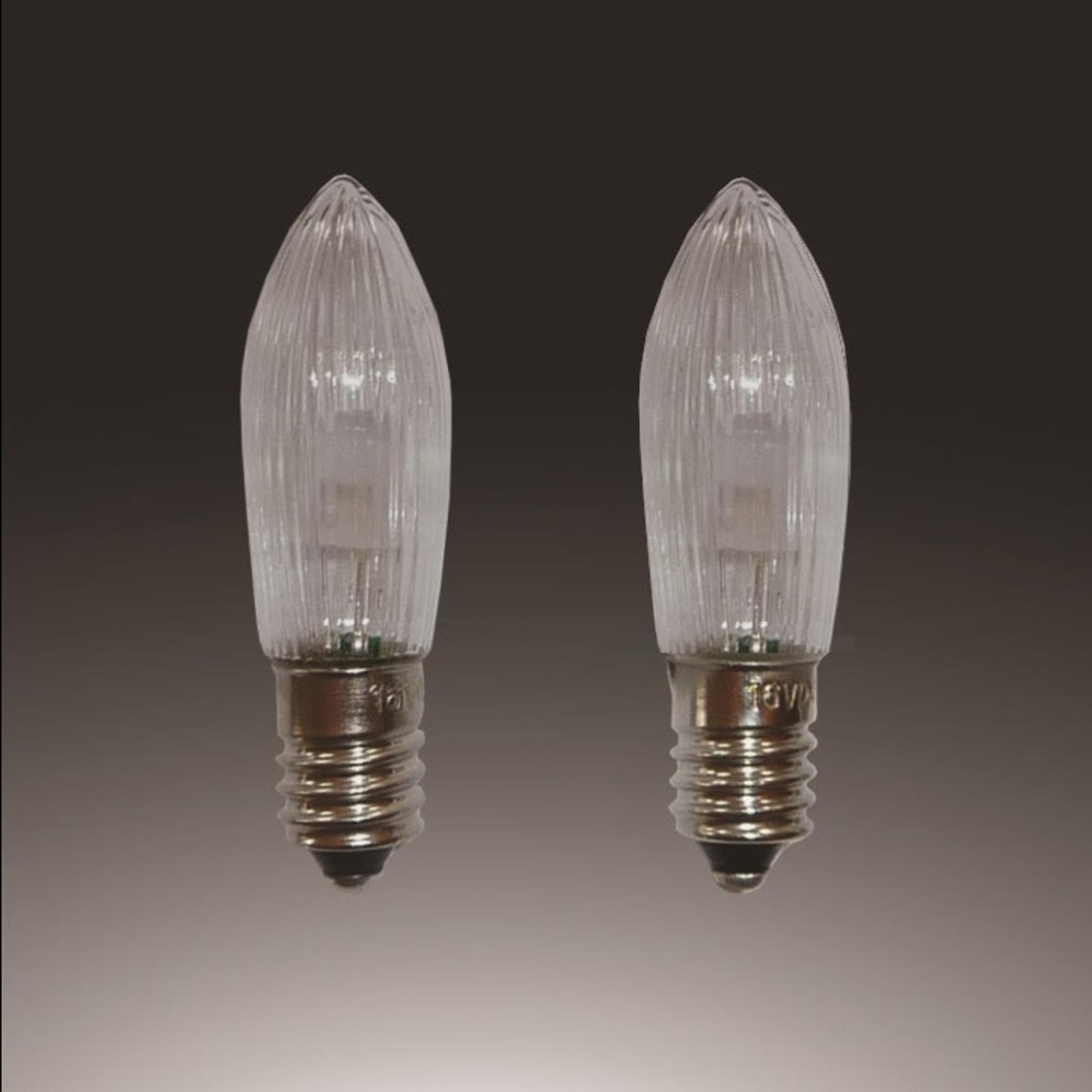 E10 0,1W 12V LED reservlampor 3dels pack ljusform