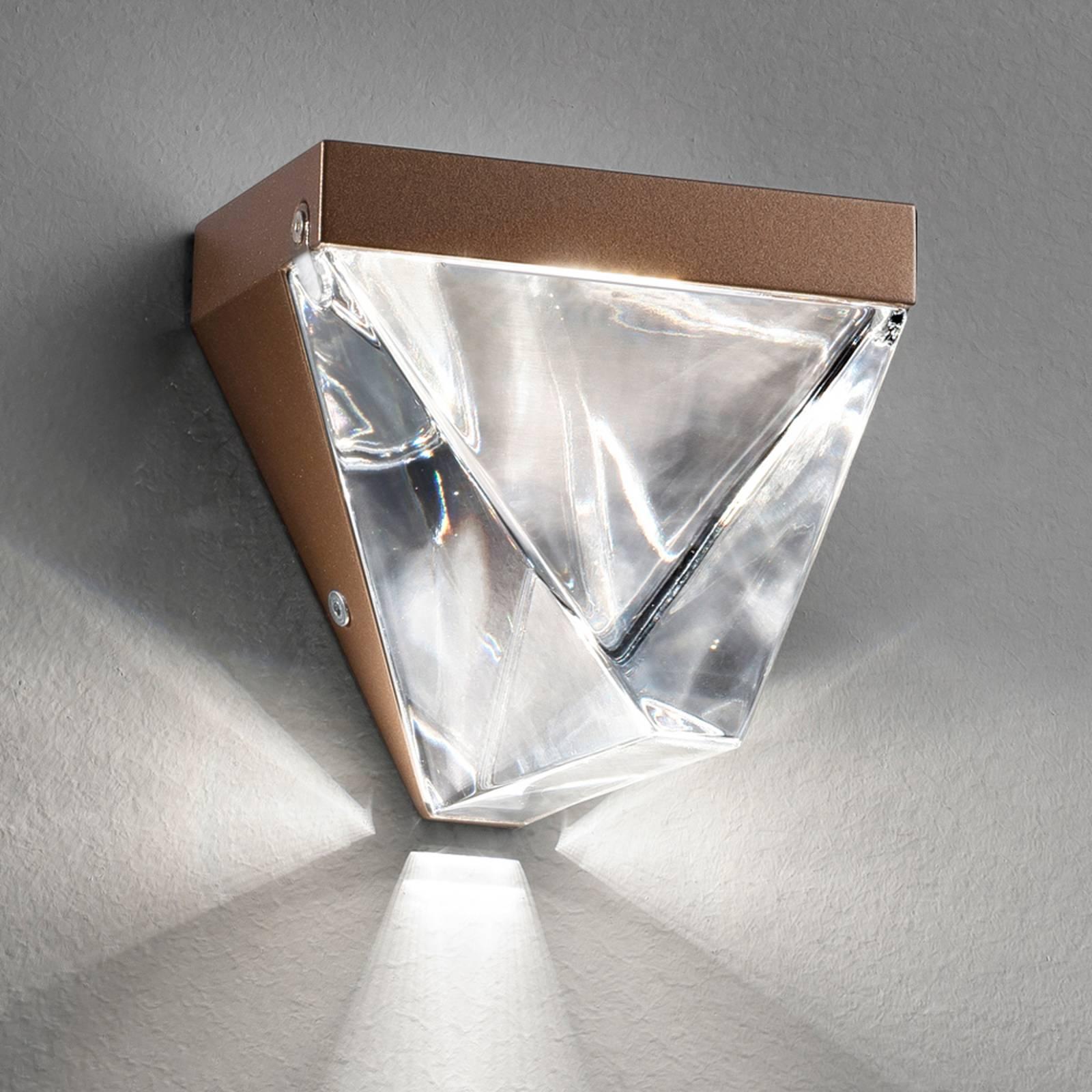 Glinsterende LED wandlamp Tripla, brons