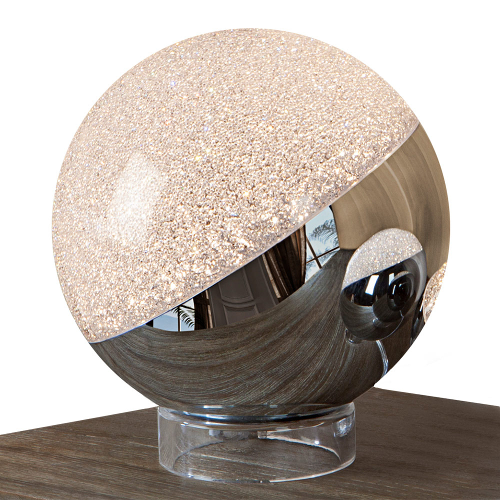 Lampe à poser LED Sphere, chromé, Ø 20cm