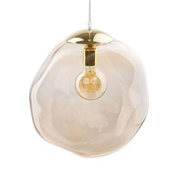 Glass-hengelampe Sol, gull/bernstein