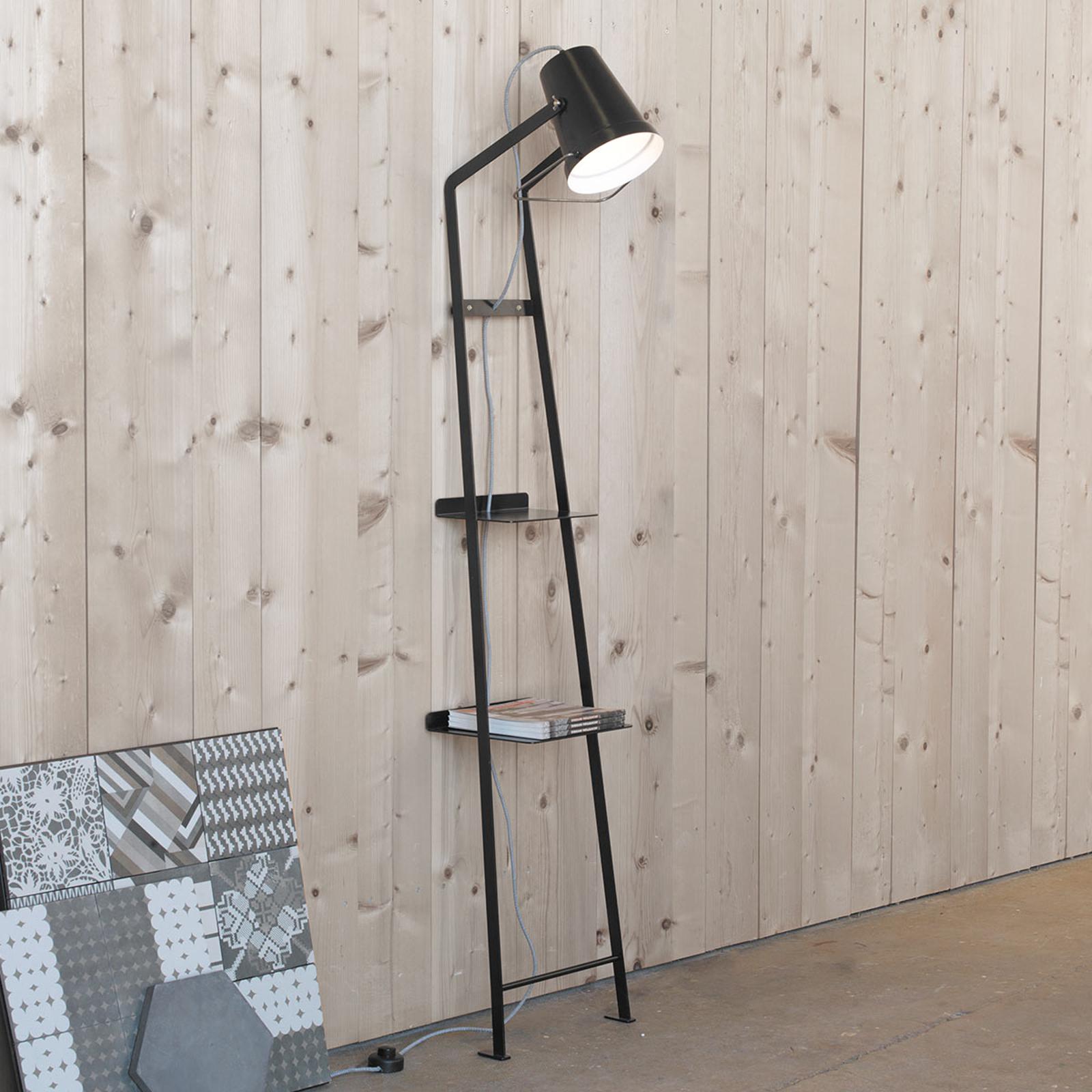 Lampa stojąca Alfred z półką, czarna matowa