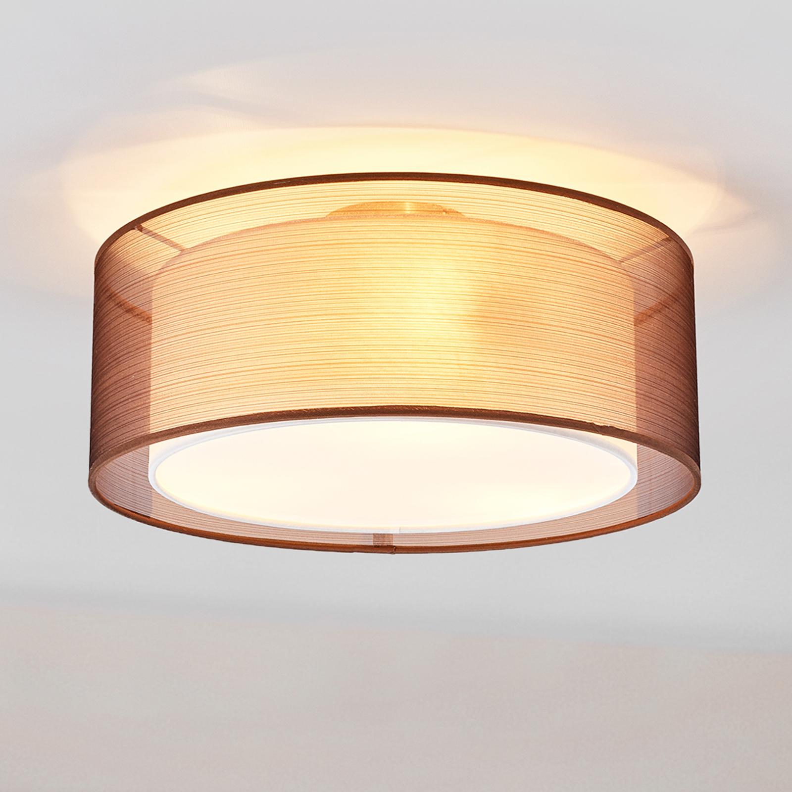Brązowa materiałowa lampa sufitowa Nica