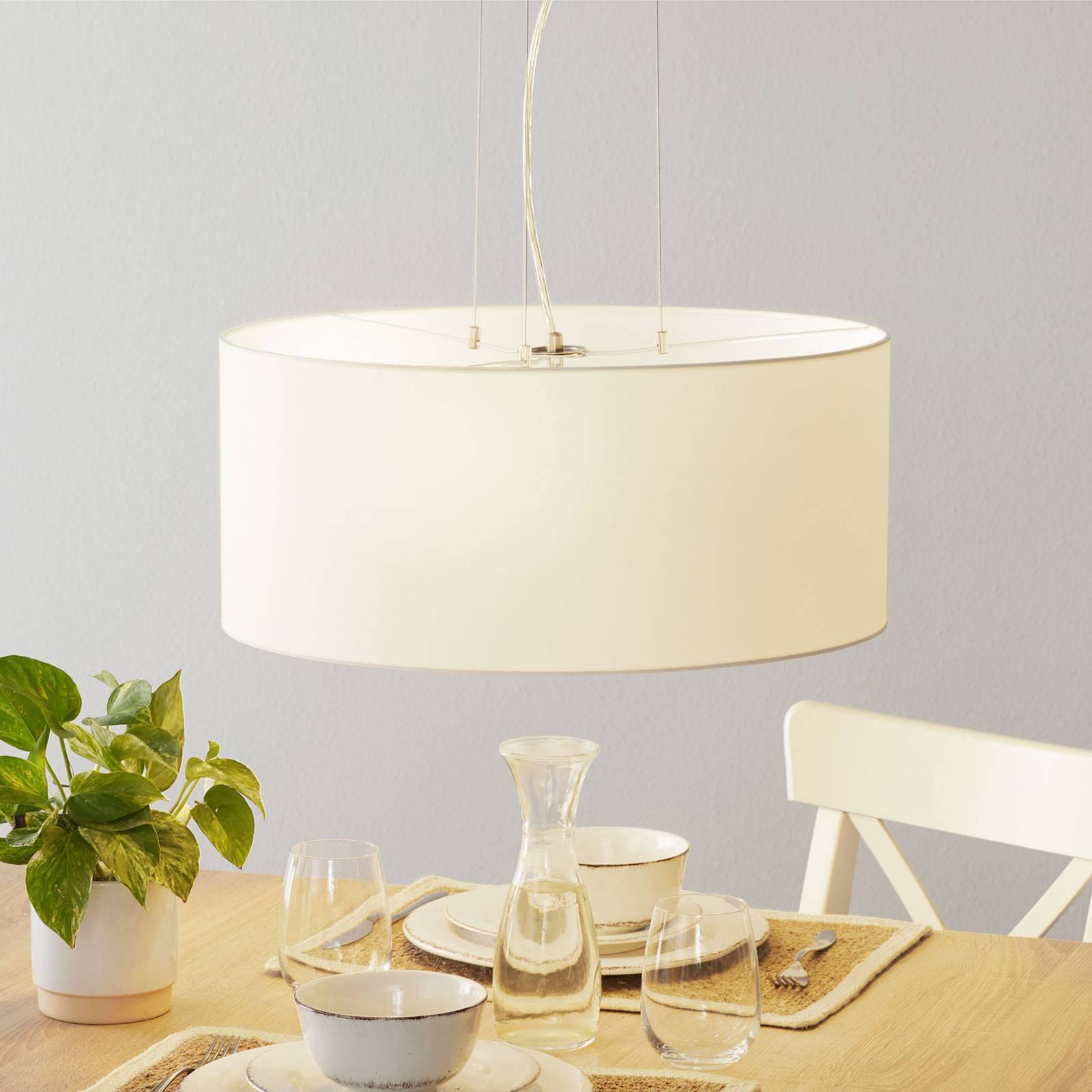 Lucande Patrik textiel-hanglamp Ø53cm wit