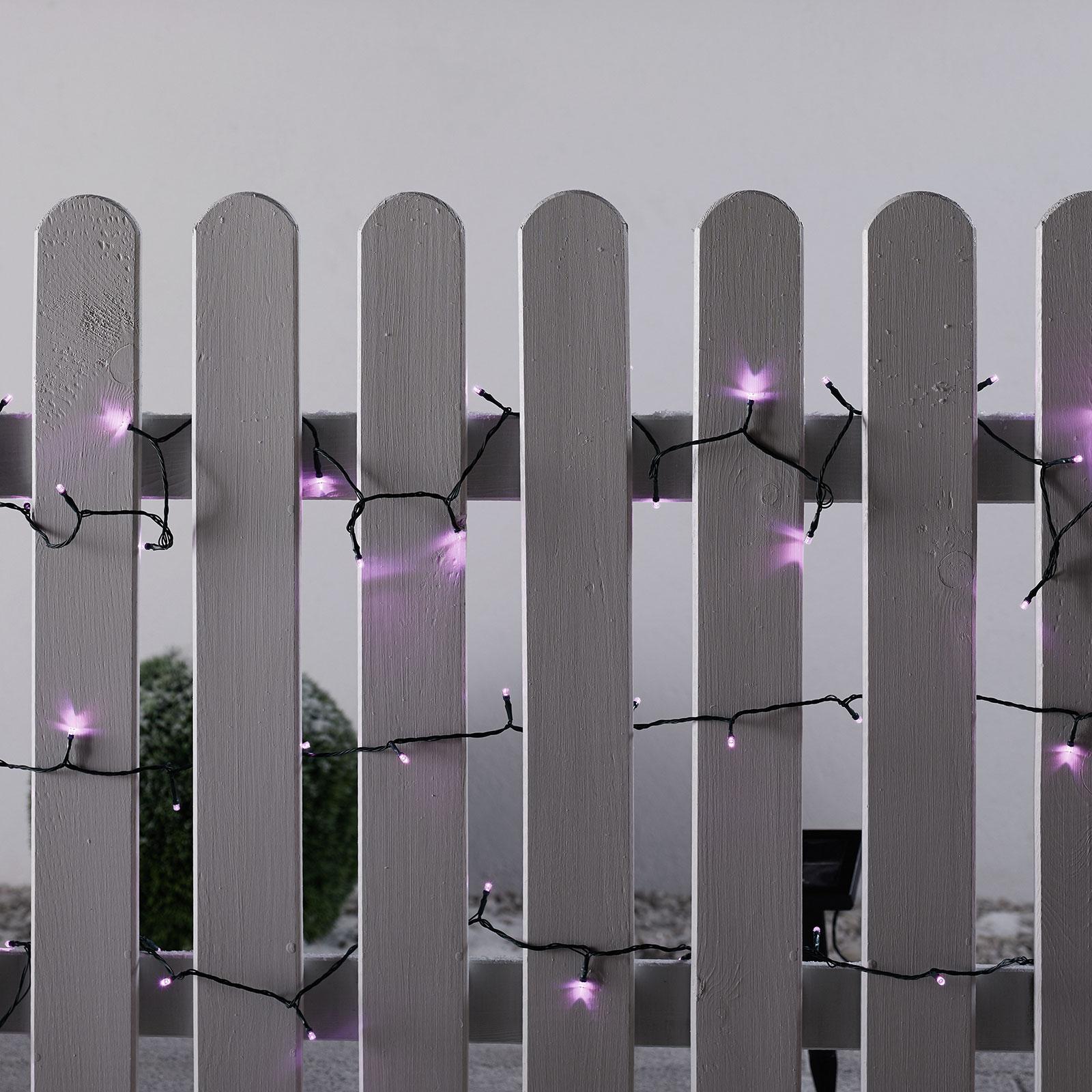 Aurinkotoiminen LED-valoketju vaaleanpunainen