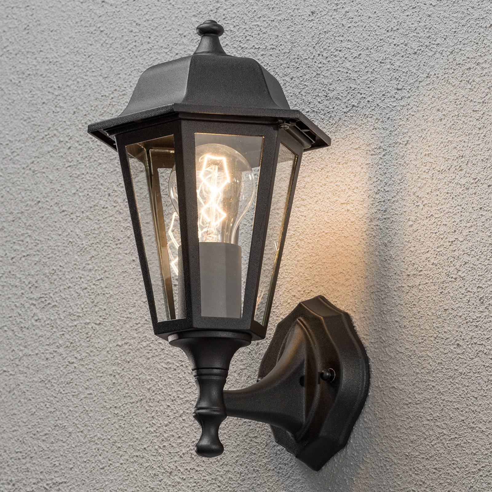 Urocza zewnętrzna lampa ścienna GRADO, czarna