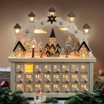 LED-adventsstage Juleby med adventskalender